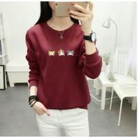 Fashion Pakaian Baju Atasan blouse wanita Kekinian M Fit L - Hitam, L