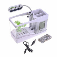 Aquarium Mini Fish Tank with USB desktop EECOO - LS0404 - Putih
