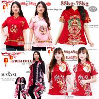 cheongsam merah atasan imlek batik blouse merah baju imlek merah