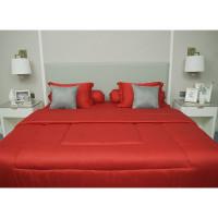 Sleep Buddy Set Sprei dan Bed Cover Plain Red Jacquard Tencel - Single Size