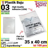 35x40 cm Plastik OPP TIPIS (LEM) | Plastik Kemeja | Plastik Baju Besar