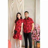 Set Couple Red Cheongsam Baju Pasangan Wanita Pria Imlek CVE