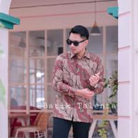 Baju Batik Pria Lengan Panjang Katun Baturaden full furing merah muda