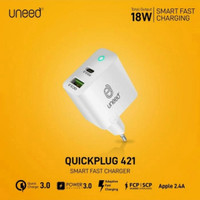 Uneed travel charger dual smart 18W PD 3.0 QC 3.0 quick charge fast