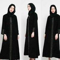 Baju Dress Abaya Muslim Gamis Arab Hitam Zipper mata full kancing