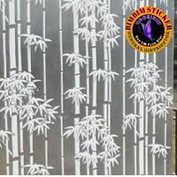 stiker sticker kaca motif bambu sandblast buram putih dekorasi kaca