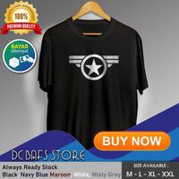 Baju Kaos Tshirt Superhero Super Hero Dewasa Premium Marvel Captain - Putih, M