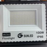 Lampu sorot LED slim 100watt 220v outdoor SUNLED IP67 SMD 2835 - 3000k
