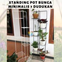 Rak Pot Tanaman Bunga Standing Planter 7 Dudukan Tanaman Minimalis - Putih