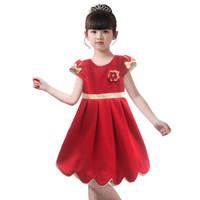 Two Mix Dress Anak Imlek - Baju Anak Perempuan Imlek Fashion 4129 - Merah, 4