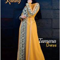abaya turkey/gamis arab bordir jahit warna kuning #1062