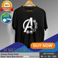 Baju Kaos Tshirt Superhero Super Hero Dewasa Marvel Logo Avengers - Putih, M