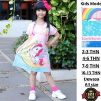 Daster Anak Perempuan Dress Elsa Pink Unicorn Baju Anak Cewek Printing
