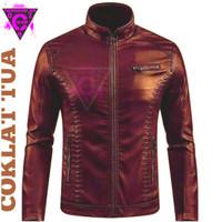 jaket kulit pria/jaket model casual/jaket kulit sintetis/ - coklat pekat, XXL