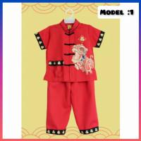 baju anak 1-10 thn setelan kemeja + celana imlek sincia congsam merah