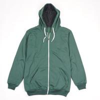 Jaket Sweater Polos Hoodie Sleting Zipper Hijau Botol - PremiumQuality