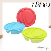 Lunch Box Bulat Sekat 2 - Set isi 3 / Kotak Bekal /Tempat Makan/Arniss