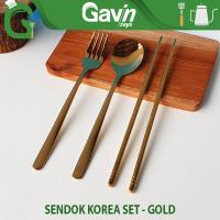 Sendok Garpu Gold Set Paket Alat Makan Korean Portable Travel Emas