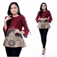 Baju Batik Atasan Wanita Blouse Lengan Panjang Batik 10 motif - mowo abang, L