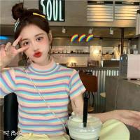 Kaos Rainbow Wanita Bahan Rajut / T-Shirt / Kaos Cewek Gaya Korea Imut