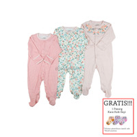 Baju Tidur Bayi Sleepsuit 3in1 MamasPapas Premium Motif Flower Stripes