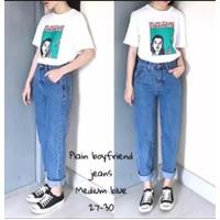 Celana panjang wanita cewek jeans boyfriend bf kekinian kerja baggy
