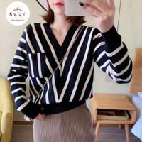 Diagonal Stripes Longsleeve Knit Blouse Import-SL0027 - Mustard