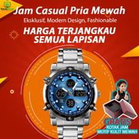 Jam Tangan Arlogi Digital Pria Sport Casual Mewah Elegan SIlver Biru