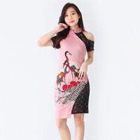 Baju Batik Wanita -Dress Batik Cheongsham Motif Merak Size M dan L