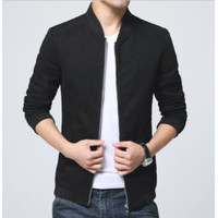 jaket pria semi kulit/jaket motor/jaket harian - Hitam, L