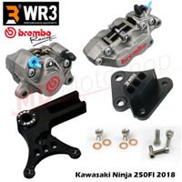 Kaliper Brembo Kawasaki Ninja 250FI 18 Depan Belakang + Selang Rem WR3 - KaliperRed, Non ABS