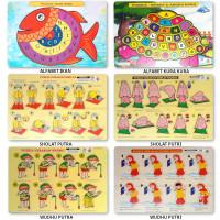 Mainan Edukasi Puzzle Kayu Hijaiyah Huruf Angka Hewan Kado Anak Musiim