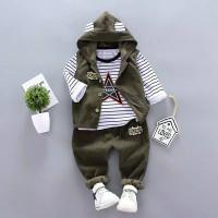 baju bayi / Anak Laki Hodie Line Corduroy Star umur 0 bulan- 4 tahun - army, S
