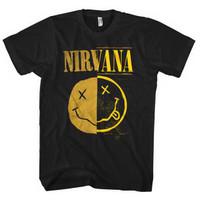 NIRVANA Split Smile Kaos Band Grunge Alternative Rock Original Tshirt