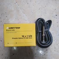 ban dalam sepeda 16 x 1 3/8 united 349 pentil kecil/presta fv 60mm
