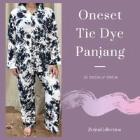 OneSet Tie Dye Lengan Panjang Baju Setelan Bali - White Black