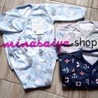 LITTLE OWL Setelan Bayi Lengan Panjang / Piyama Kancing Depan