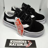 sepatu vans anak laki laki perempuan old skool black white perekat