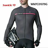 Baju Jersey Sepeda Santic Abu Grey Panjang WM7C01079G