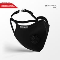 Stayhoops - Masker kain hitam polos 3 ply valve