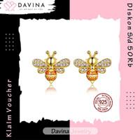 Anting Perak Asli DAVINA Bee Earrings S925 Yellow Wanita Tusuk Lebah