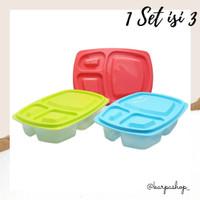 Lunch Box Kotak Sekat 3-Set isi 3/Kotak Bekal/Tempat Makan/ARNISS