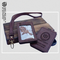 Gantungan id card holder kulit flip magnet costum nama & logo instansi