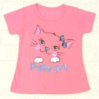 baju kaos anak cewek KUCING-KUCING untuk anak 1-10 tahun bahan katun - Pink KCG 1pita, S