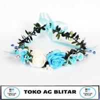 Flower Crown Blue Aksesoris Bando Mahkota Bunga Cantik Pesta FC-BR