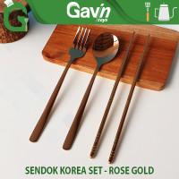 Sendok Set Stainless Rose Gold Paket Travel Alat Makan Korean Style