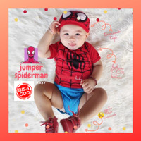 Jumper baby spiderman romper newborn baju bayi katun jumpsuit terusan