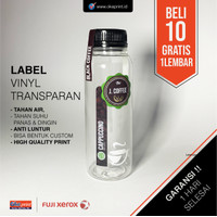 Cetak Stiker Label Vinyl Transparan A3+ CUT / Cetak Label Kemasan
