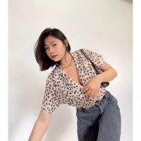 unikdanmurahh - PATTERN SHIRT CUTE LEOPARD / Baju Atasan Blouse Wanita
