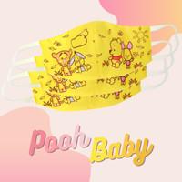 Masker kain Anak / Dewasa Motif Kartun Pooh Baby tahan air 2 ply - ANAK, HEADLOOP
